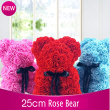 2019 drop shipping 25cm Soap Foam Bear of Roses Rose Flower Artificial New Year Gifts for Women Valentines Gift