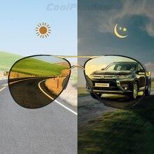 Day Night Vision 항공 안전 운전 포토 크로 믹 선글라스 남성 편광 된 카멜레온 선글라스 oculos de sol masculino