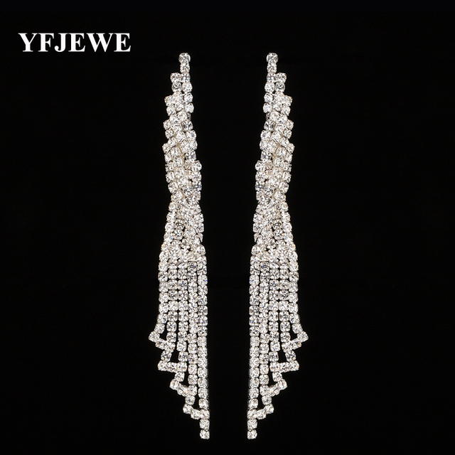 YFJEWE Fashion Jewelry Wedding Party Crystal Tassels Accessories Long Drop  Dangle Earrings Hanging boucle d oreille femme E474 5241dbbe66b0