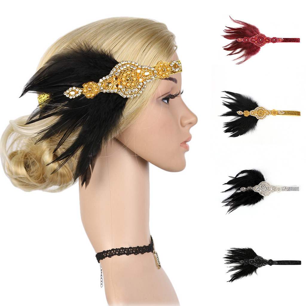 Vintage 1920s Great Gatsby Party Costume Headpiece Hair Accessories Women Rhinestone Hair Band Women Flapper Feather Headband Women S Hair Accessories Aliexpress