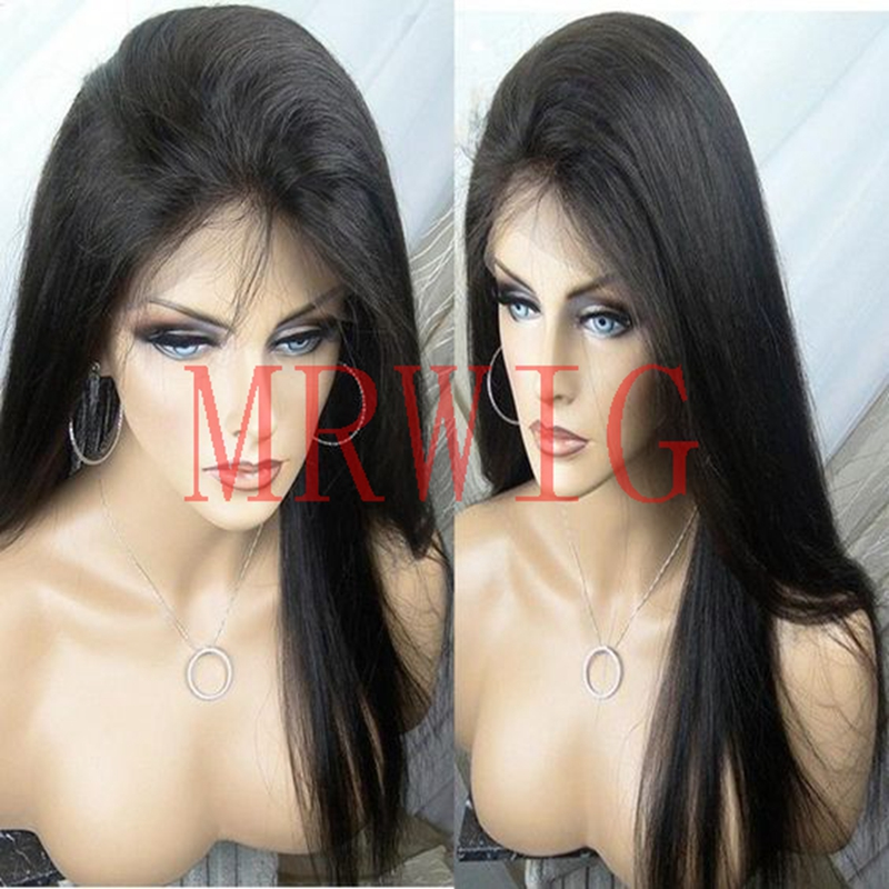 MRWIG yaki straight synthetic glueless front wig free part baby hair black/brown/blonde heat resistant fiber black woman