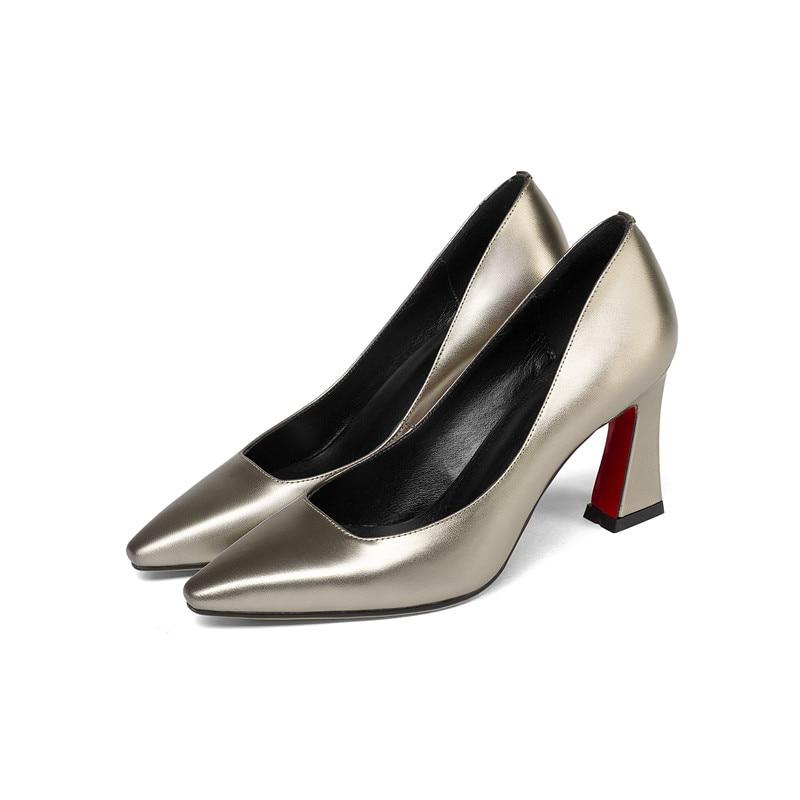 MLJUESE 2018 frauen pumpt Echtes leder spitz chaussures femme beleg auf herbst frühling high heels-in Damenpumps aus Schuhe bei  Gruppe 2