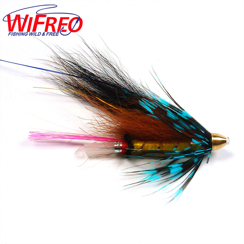 Wifreo [4PCS] Conehead Tube Flies for Salmon Trout And Steelhead Fly Fishing Blue Grizzly Orange & Black Color grizzly salmon fillet treats for dogs