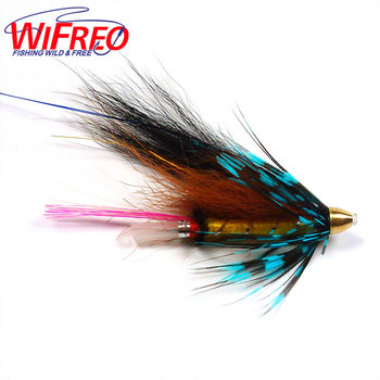 Wifreo [4PCS] Conehead Tube Flies for Salmon Trout And Steelhead Fly Fishing Blue Grizzly Orange & Black Color image