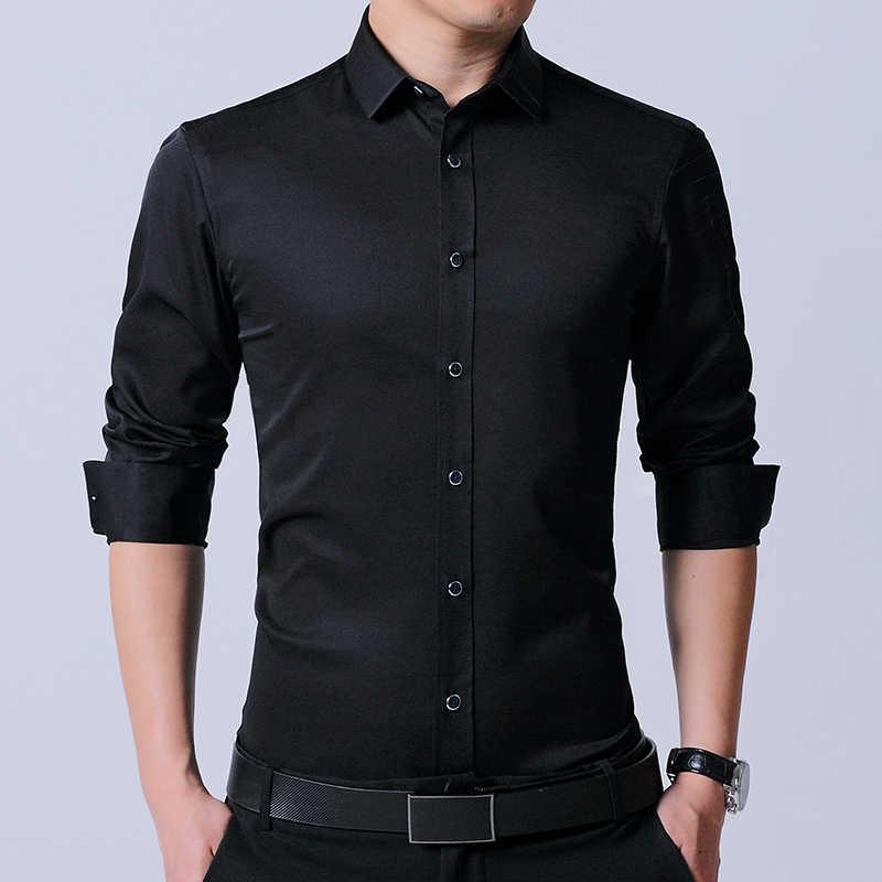 LANG мужская G Мужская рубашка брендовая 2017 Мужская s приталенная однотонная черная с длинным рукавом модные мужские рубашки в стиле кэжуал elestic клетчатые рубашки