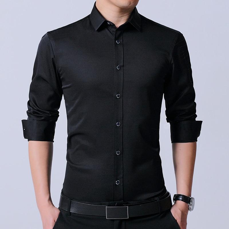 LANGMENG Men's Dress Shirt Brand 2017 Mens Slim Fit solid color black Long Sleeve Fashion Men Casual Shirts elestic plaid Shirts
