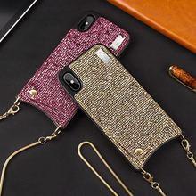 DanYee 10 шт шикарный Роскошный горный хрусталь цепь девушки мягкий TPU чехол для кошелька задняя крышка для iPhone 6 6 S 6splus 7 8