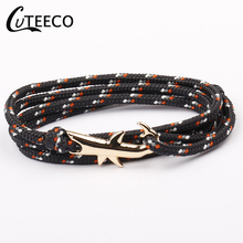 CUTEECO Gold Shark Bracelet Men Jewelry Viking Bracelets For Women Pulseira Masculina Bileklik Anchor bracelet Pulsera Homme
