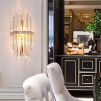 Nordic Crystal Glass Wall Lamp Living Room Minimalist Modern Bedroom Post Lamp Bedside Designer Villa Decoration