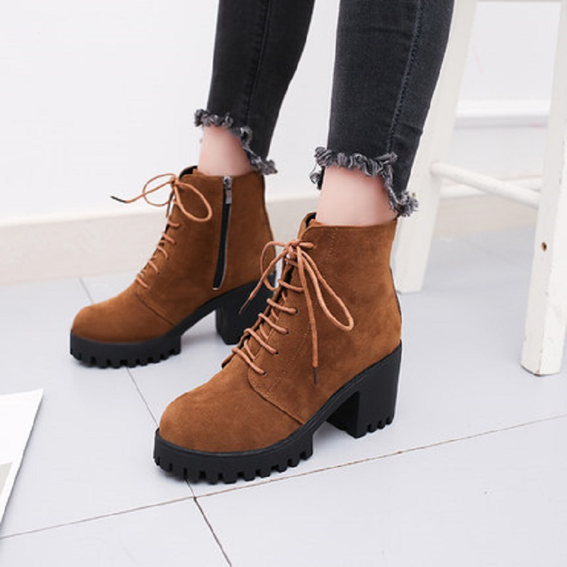 2018 new short tube autumn and winter women's boot thick with high-heeled solid color round head fashion casual warm boots wome 1