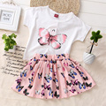 2016 fashion girls skirt set butterfly dress roupas de menina princesa ropa de niña conjunto niño verano conjunto