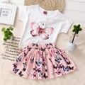 2016 moda meninas saia definir borboleta roupas de menina princesa roupas de menina definida verão criança dress set