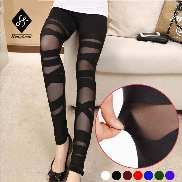 aliexpress : buy women's leggings gothic silk gauze plus size