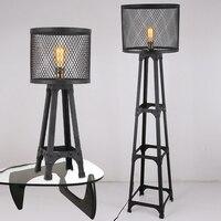 Nordic американский Лофт настольная лампа ретро промышленного ветер Металл Железо Гостиная Офис Ресторан напольные светильники черный торше