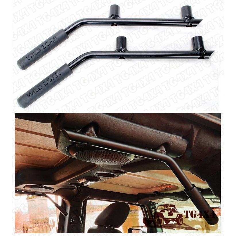 Black Roll Bar Grab Handles For Jeep Wrangler Jk 4 Doors Grabb Bars Handle Solid Steel Crew Cab Roof Wild Interior Griphandle