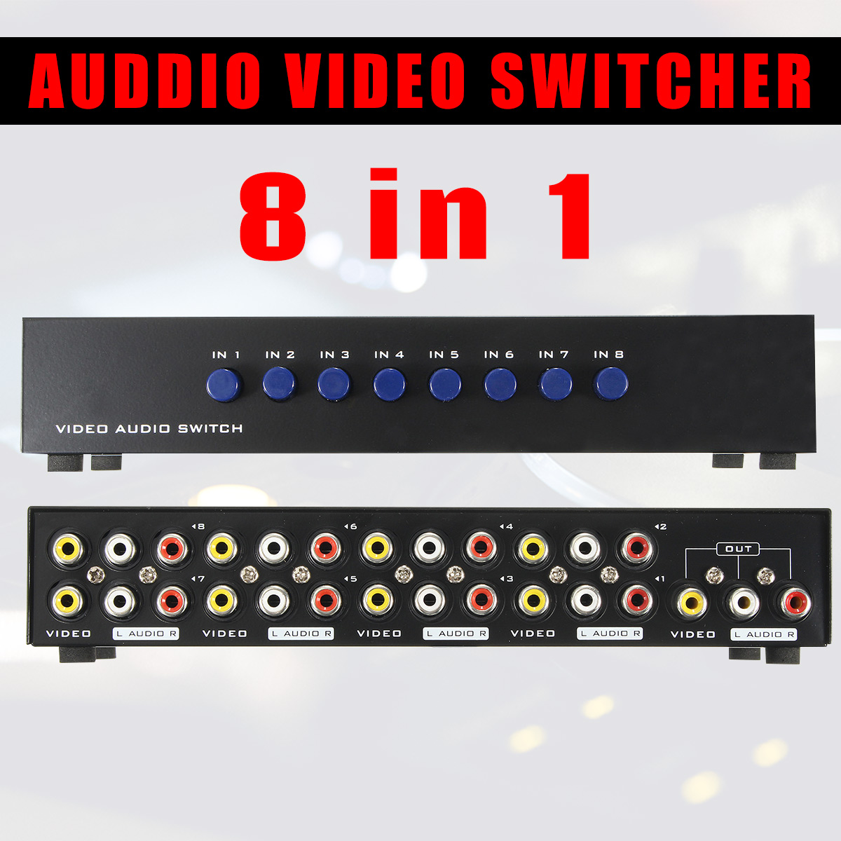 AV Switch Box 8 Ports Composite 3 RCA Video Audio AV Switch Switcher Box Selector 8 In 1 Out 8x1 for HDTV LCD Projector DVDAV Switch Box 8 Ports Composite 3 RCA Video Audio AV Switch Switcher Box Selector 8 In 1 Out 8x1 for HDTV LCD Projector DVD