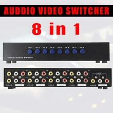 AV коммутатор 8 Порты композитный 3 RCA аудио-видео AV Переключатель выбора Switcher коробка 8 в 1 из 8×1 для HDTV ЖК-дисплей Проектор DVD