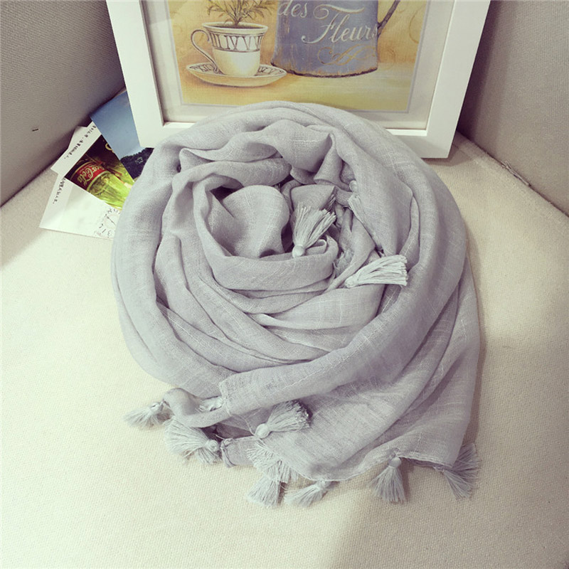 solid color scarf women classical foulard coton tassels shawls sunscreen wraps newchina mainland - Foulard Color