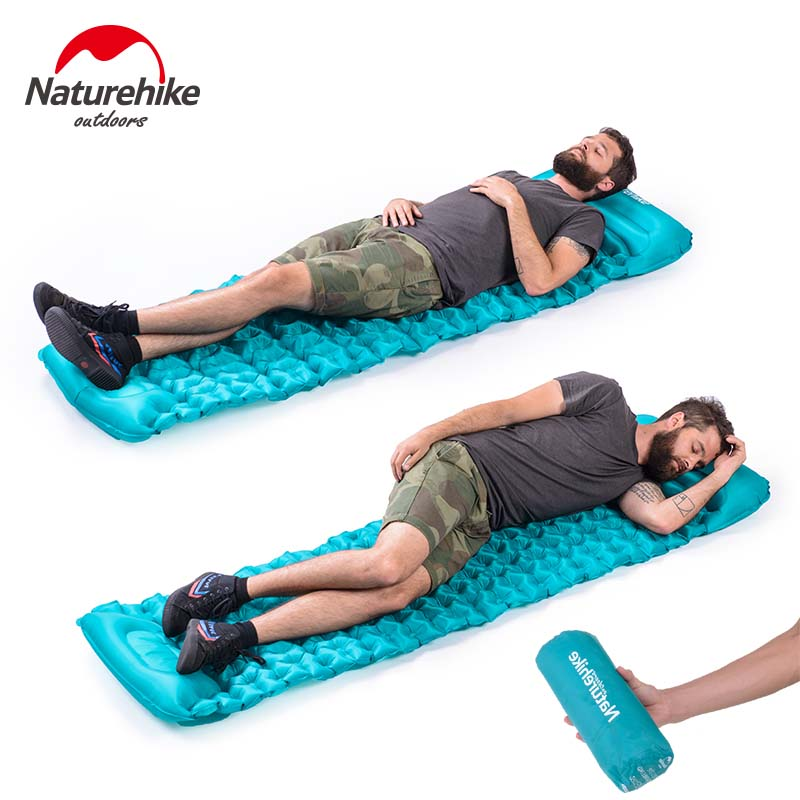 Naturehike Outdoor Press Inflated Cushion Sleeping Bag Mat Fast Filling Air Moistureproof Camping Mat With Pillow Sleeping Pad naturehike sleeping pad fast filling air bag super light camping mat with pillow portable beach mat for rescue life cushion 550g