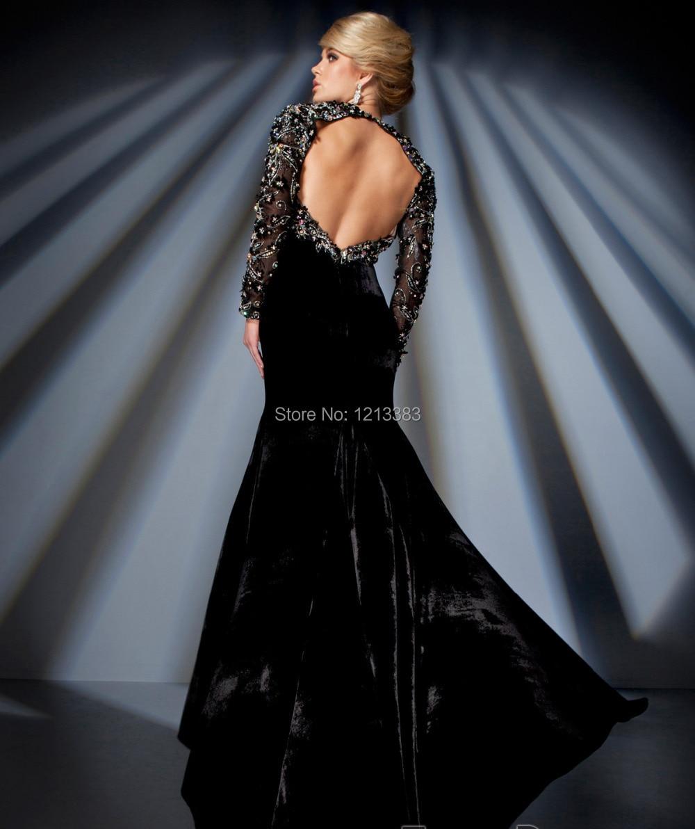 Único Black Long Sleeve Prom Dresses 2014 Festooning - Ideas de ...