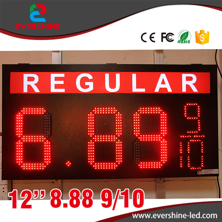 REGULAR 12 inch 8.88 9/10 Outdoor led gas price digital led sign boards usage for LED price oil station best price 5pin cable for outdoor printer