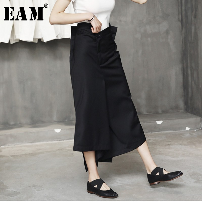 [EAM] 2019 New Autumn Winter High Waist Black Irregular Split Join Loose Long Wide Leg Pants Women Trousers Fashion Tide JL448