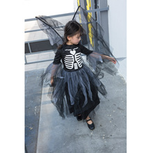 лучшая цена Kids Halloween Party Dress Up Skeleton Show Dress Girls Costume Children Human Skeletons Dresses Stage Dance Costumes With Wings