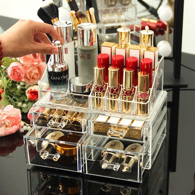 Transparent acrylique maquillage organisateur boîte de rangement rouge à lèvres support de rangement maquillage porte-outil tiroirs bijoux boîte de rangement