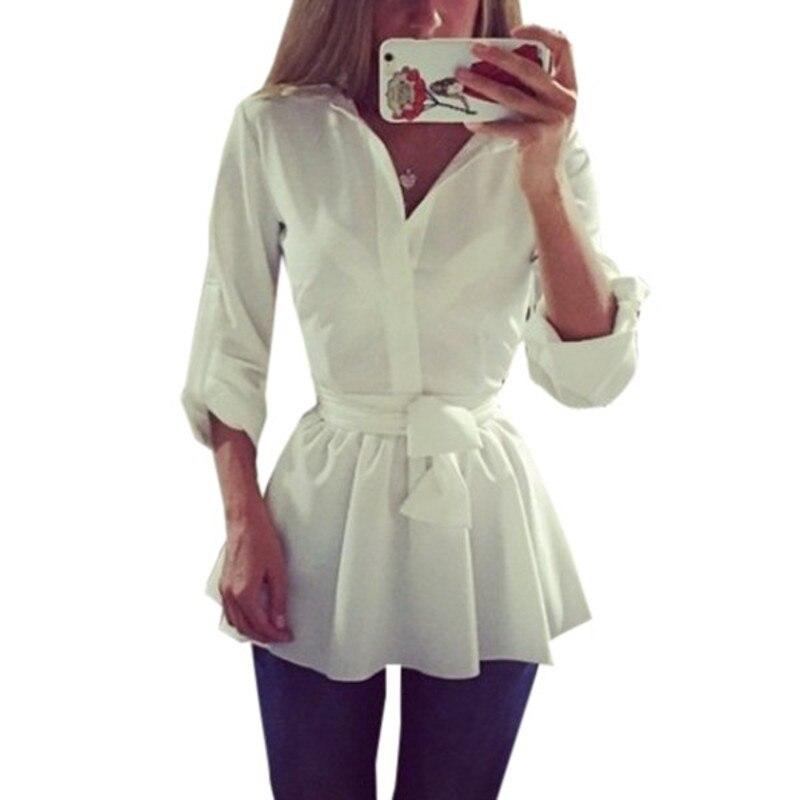ZANZEA 2018 Для женщин с поясом туника рубашка Осенняя блузка с длинным рукавом баски Повседневное Топ ПР спецодежды Mujer Blusas Плюс Размеры S-3XL