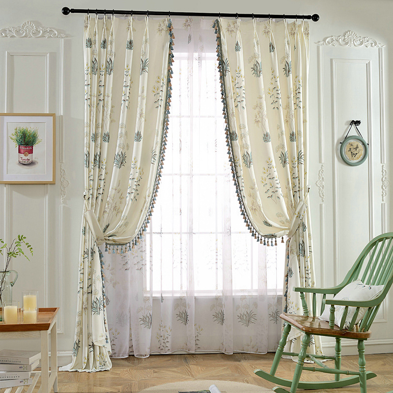 US $12.96 46% OFF|Luxury Window Curtains for Living Room/Bedroom / Hotel  Printed & Jacquard Flowers Drapes Blackout Window Treament for Hoem  Decor-in ...