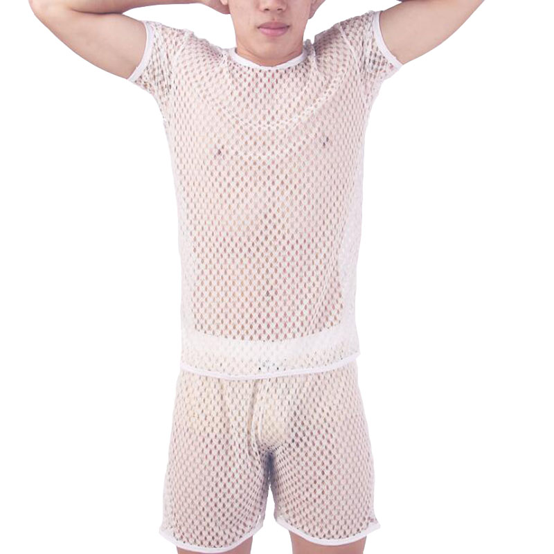 KWAN.Z Men Sleepwear Gay Clothes Hollow Breathable Ropa Gay Camiseta Transparente Hombre Sleep Shirt