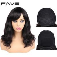 FAVE Hair 100% Remy Human Hair Wigs Brazilian Natural Wave Wig with Bangs Full Machine Made Wig Remy Hair Full End Natural Black