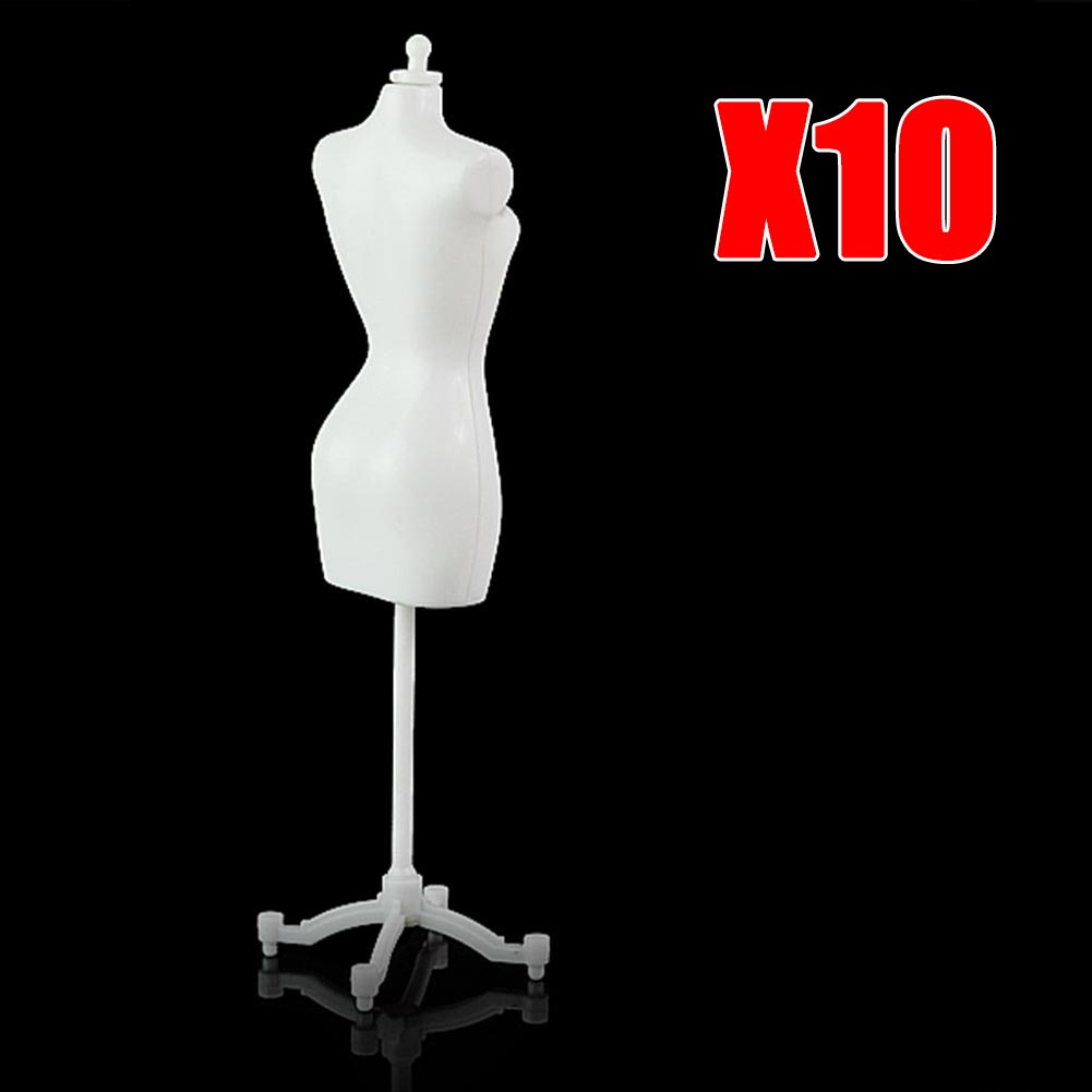 10PCS/LOT 22cm White Display Holder Baby Toys Dress Clothes Gown Mannequin Model Stand For Girls Furniture Doll Stand