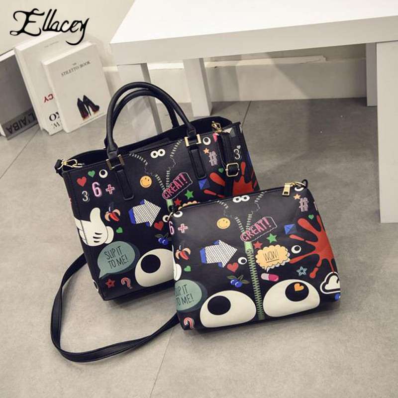 ФОТО 2016 Famous Casual Designs Women Cartoon Printing Leather Composite Bag Women's Handbags Graffiti Leather Shoulder Bag For Party