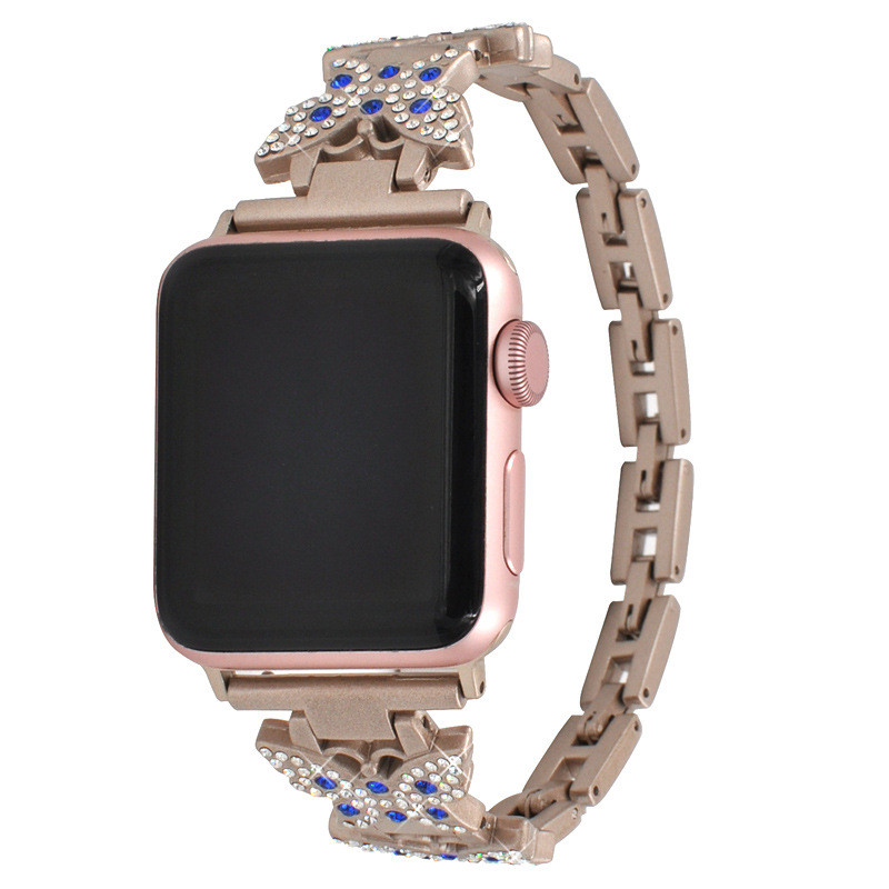 Applicable To For Apple Watch Band Strap For Apple Diamond Butterfly Metal Stainless Steel Belt For Iwatch in Watchbands from Watches