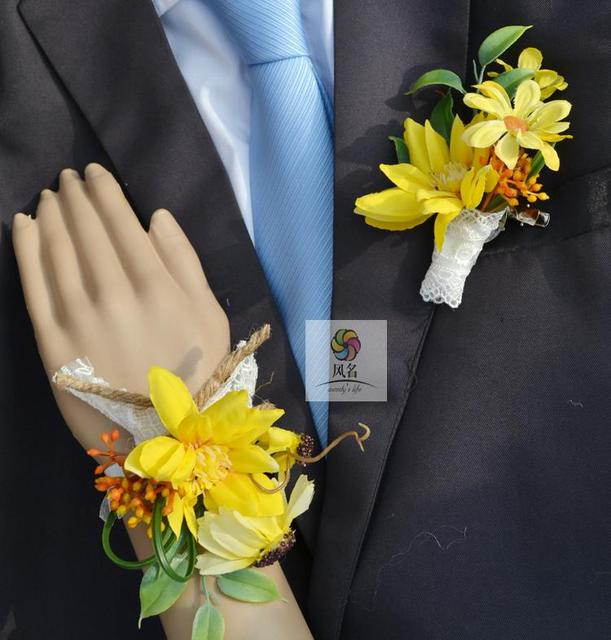 Handmade corsages flowers wedding supplies groom boutonniere bride handmade corsages flowers wedding supplies groom boutonniere bride bridesmaid hand wrist flower yellow artificial flower corsage mightylinksfo