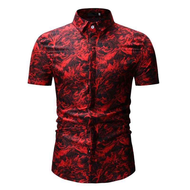Модная Цветочная гавайская рубашка мужская 2019 летняя новая мужская рубашка с коротким рукавом пляжные каникулы вечерние Мужская рубашка в стиле кэжуал рубашка Camisa Hombre