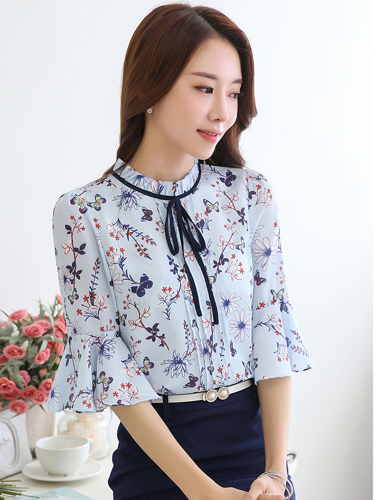 a5bf95acd79e7 2019 Summer Flare Sleeve Floral Women Shirts Tops Blusas Mujer De ...