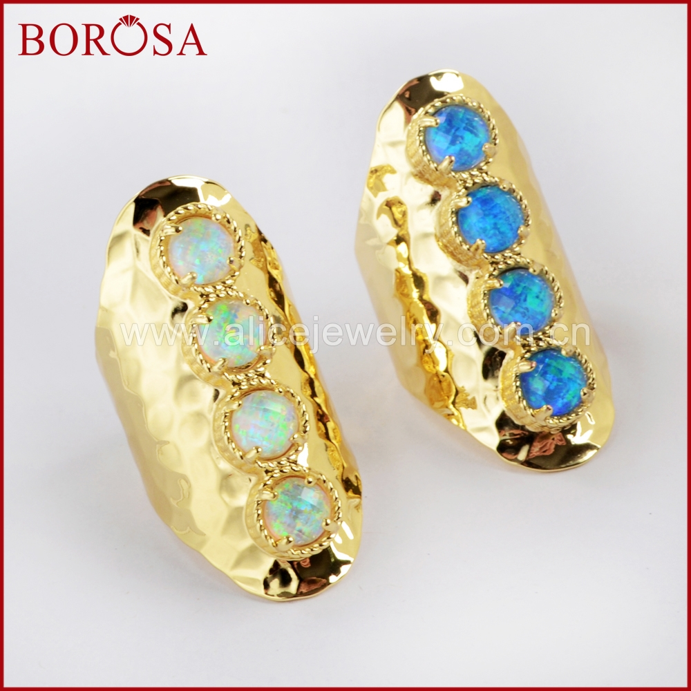 BOROSA 5PCS New Gold Color Bezel Round Four Japanese Opal Faceted Band Bar Ring Jewelry Man-made Opal Rings for Women ZG0340