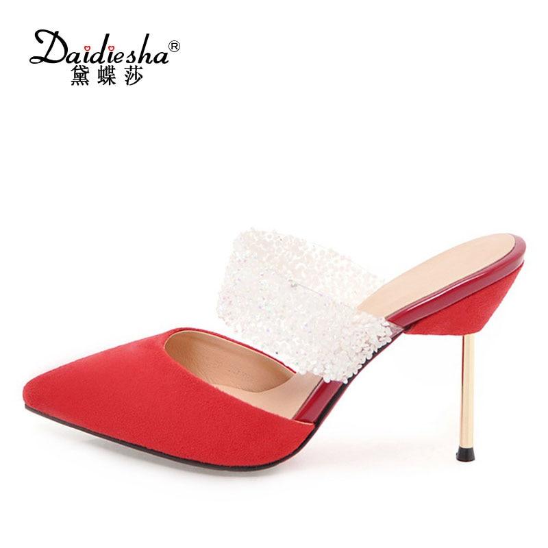 Dames Mariage Bout Chaussure Black Pointu D'été 2018 Partie De Cristal Talon Femme Daidiesha Fille Talons Chaussures red Mules xIwPqYMv
