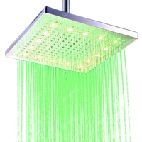 30cm 12 inch Single Green LED shower head water