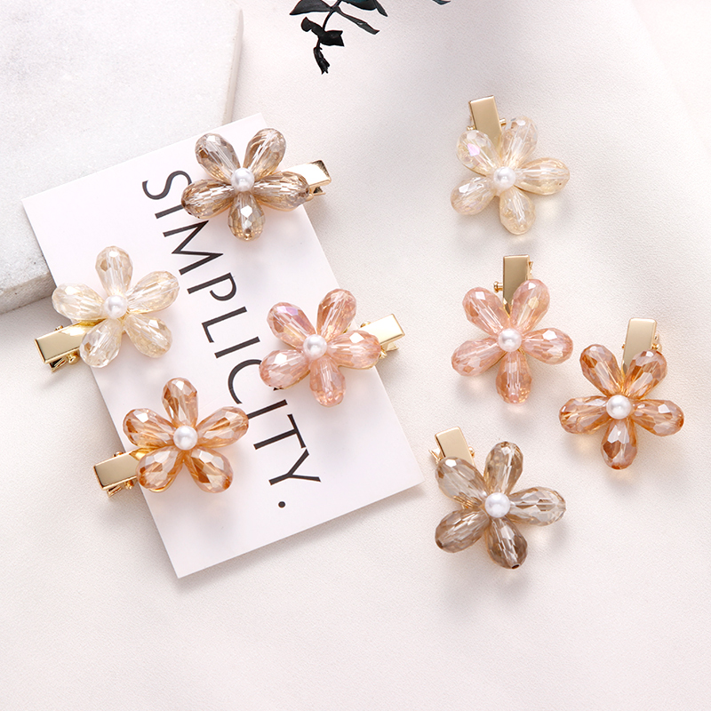 Crystal Flower Headwear Hairpin Barrettes Hair-Accessories Girls Fashion Women Luxury