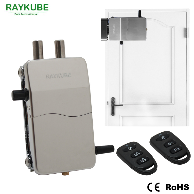RAYKUBE Electronic Lock Wireless Keyless Anti-theft Invisible Lock For Doors Intelligent Lock With Remote Control Key R-W39