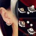 Frente y Parte Posterior de la manera Clips Del Oído Tachona Los pendientes para las mujeres Pendientes de La Perla Del Oído Earbobs 1PD5