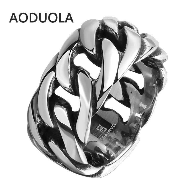 Stainless Steel with Rope Punk Ring Big Size rings Retro Vins