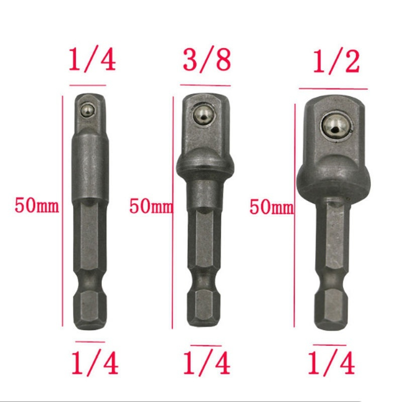 3pcs Electric Screwdriver Drill Square Socket Bit Adapter Adaptor Drill Power Extension Bar Hex Shank Set 1/4