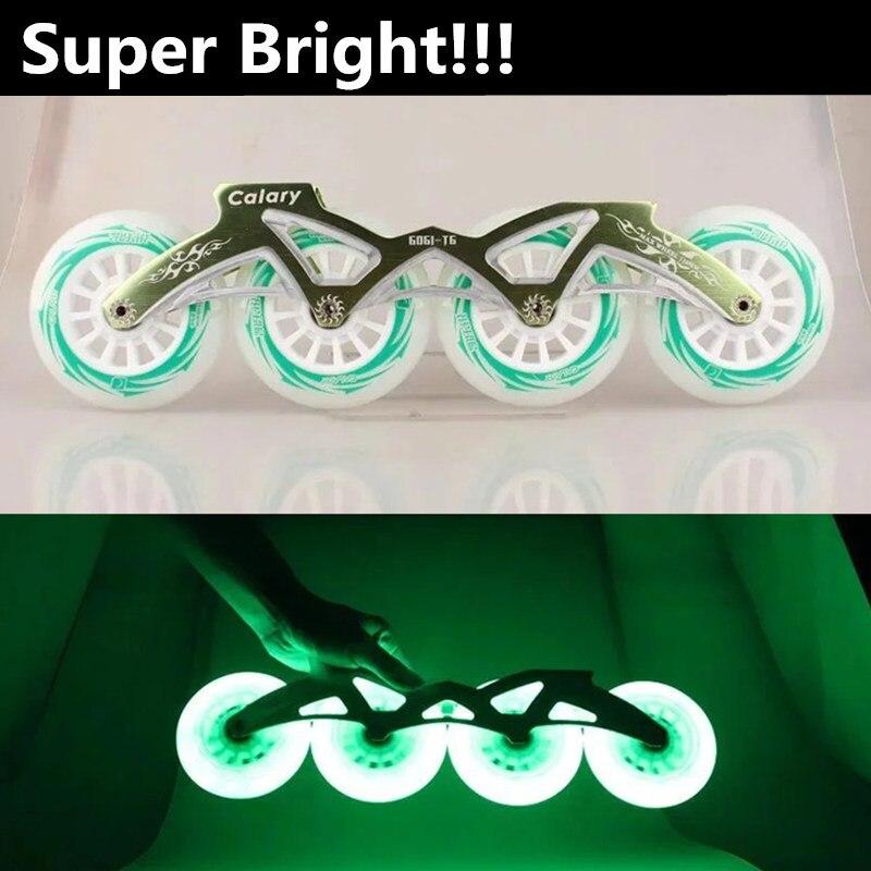 Prix pour Super Lumineux D'origine Xuanwu LED Flash Roue pour Inline Vitesse De Patinage, 100mm 110mm Blanc Vert Bleu Lumière pour les Courses De Nuit