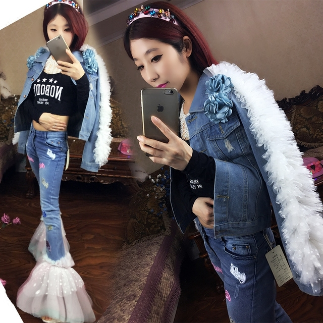 The new Thailand special offer tide brand high-end custom models heavy wave wood ear fringed denim suit fashion.