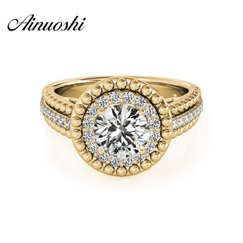 AINUOSHI 925 Sterling Silver Yellow Gold Color Women Wedding Bridal Ring Sona Round Cut Engagement Party Lover Halo Ring Jewelry