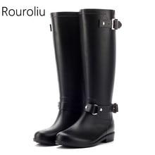 2014 Brand New Womens Fashion Waterproof Motorcycle Rain Boots Knee High Back Zip Water Shoes Girls Rainboots Wellies  #TS30